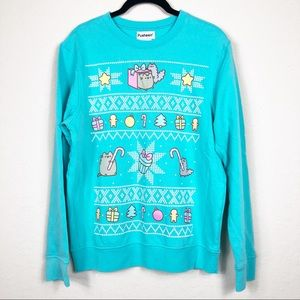 Pusheen | Turquoise holiday theme sweater | XS
